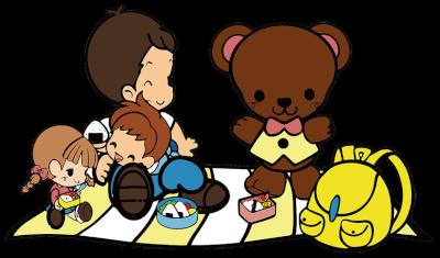 カラー 園外保育(お弁当ピクニック)のイラスト