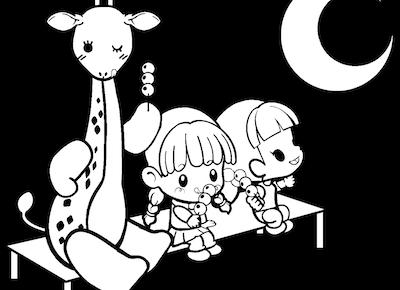 お月見をする園児達のイラスト
