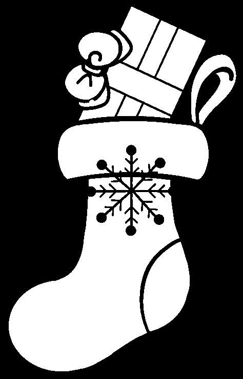 クリスマスプレゼントのための靴下(白黒)