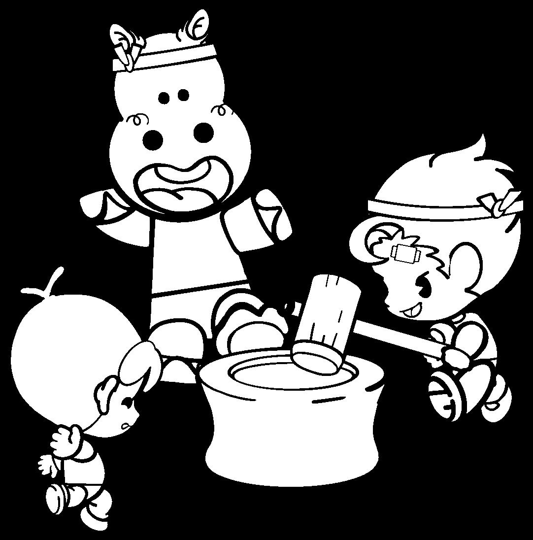 餅つきをする子どもたちの白黒イラスト