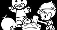 餅つきをする子どもたちのイラスト