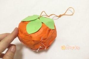 保育 製作  秋 柿 ヨーヨー