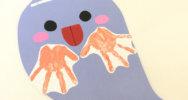 0歳児〜2歳児の乳児さんにもおすすめ◎手形でできる、可愛いおばけの作り方